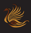 phoenix bird feather logo vector image vector image