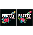 pretty girl posters flowers vector image vector image