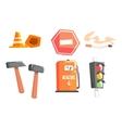Road Sign Cones Hammers Cigarette Petrol vector image vector image