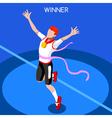 Running Winning Man 2016 Summer Games Isometric 3D vector image vector image