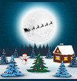 santa claus flies with gifts on a sleigh in a vector image
