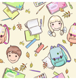 Seamless pattern with schoolchildren and school ac vector image