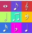set flat music notes icons vector image vector image