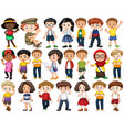 set happy children waving hello vector image vector image