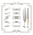 set of calligraphy design elements vector image vector image