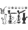 set of cannabis leafs bongs hookahs icons vector image