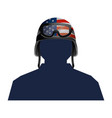 soldier silhouette and helmet vector image vector image