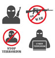terrorism armed terrorist black mask hold weapon vector image