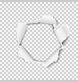 torn hole in the transparent sheet of paper vector image vector image