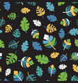 tropical leaf seamless pattern black vector image vector image