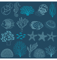 Underwater life design elements vector image