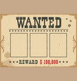 wanted poster western with text and vector image vector image