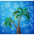 watercolor palms and hand draw surf icon vector image vector image
