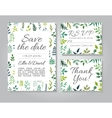 wedding invitation card set with floral vector image vector image