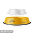 white glossy pet feeding bowl on rubber base vector image vector image
