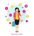 Woman doing shopping vector image vector image
