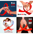 world aids day banner set cartoon style vector image