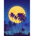 Yellow moon with dark blue palm silhouettes poster vector image