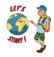 Young backpacker ready to journey around the globe vector image