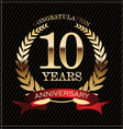 10 years anniversary golden laurel wreath vector image