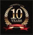 10 years anniversary golden laurel wreath vector image vector image