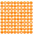 100 team building icons set orange vector image vector image