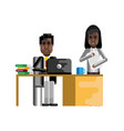 african businessman working at laptop vector image