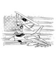 american flag with military airplanes vector image vector image
