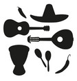 black and white mexican music silhouette set vector image vector image