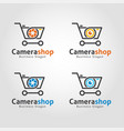 camera shop logo template vector image