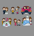 cartoon romantic characters set vector image vector image