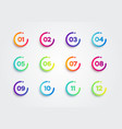 colorful bullet points set number 1 to 12 vector image vector image