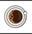 cup frothy coffee - top view vector image vector image