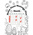 daily watering planner vector image vector image