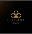 elegant luxury golden spade logo design vector image vector image