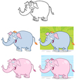 Elephants Characters Collection vector image