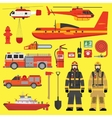 Fire brigade equipment infographics set vector image vector image