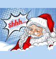 flashing santa claus with his finger to his mouth vector image