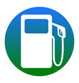 gas pump sign white icon in bluish circle vector image vector image