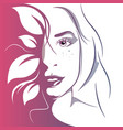 girl head eye ear hair lips neck vector image