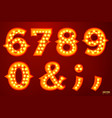 glowing lamp numbers for circus movie etc vector image vector image