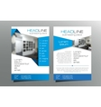 Grey blue brochure flyer template design vector image