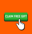 hand mouse cursor clicks the claim free gift vector image