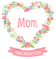 Happy mothers day floral heart wreath