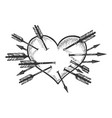 heart symbol pierced with arrows sketch engraving vector image