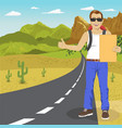 hitchhiking man with backpack and sunglasses vector image vector image