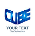initial word cube logo template 3d cube word vector image vector image