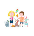 little boy and girl in pet shop vector image vector image