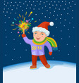 little boy with fireworks in his hand vector image