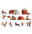 lumberjack cartoon set vector image